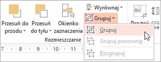 Wybieranie grupy menu grupy