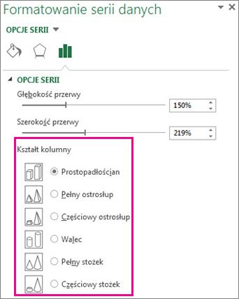 Kształty ostrosłupowe i stożkowe 3-W w okienku zadań Formatowanie serii danych