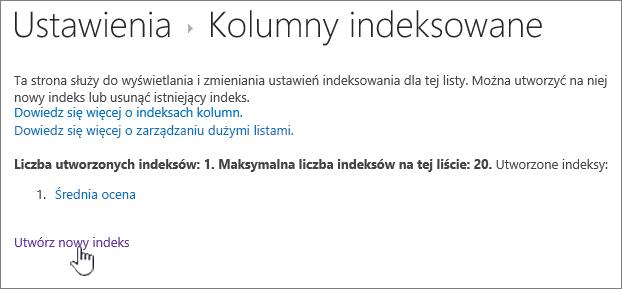 Strona kolumny indeksowane z Utwórz nowy indeks wyróżnione