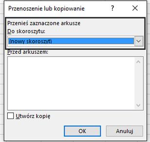 Okno dialogowe Przenoszenie lub kopiowanie