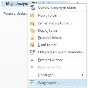 Kliknij prawym przyciskiem myszy nowy folder, a następnie kliknij pozycję Właściwości.