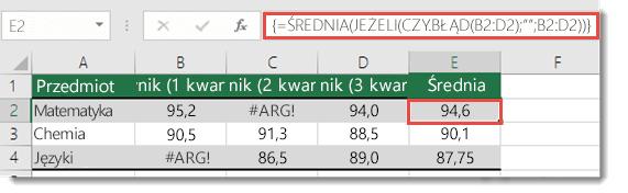 Funkcja tablicowa w funkcji ŚREDNIA na potrzeby naprawienia błędu #ARG!
