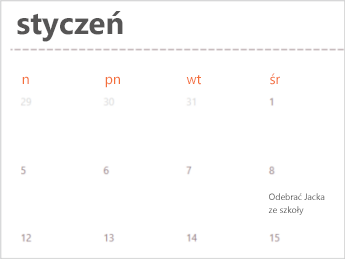 Szablon kalendarza w aplikacji Excel Online