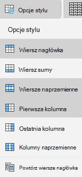 Opcje stylu tabeli w aplikacji Poczta dla systemu Windows 10