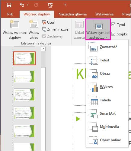 Przycisk Wstaw symbol zastępczy w widoku wzorca slajdów w programie PowerPoint