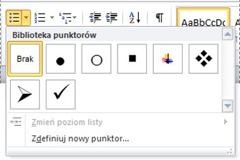 Biblioteka punktorów programu Word 2010