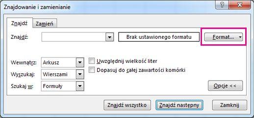 Okno dialogowe Znajdowanie