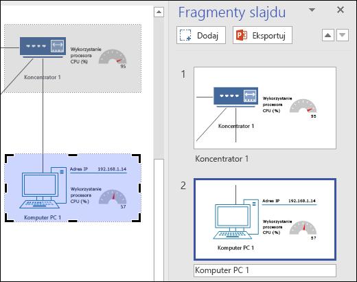 Zrzut ekranu przedstawiający okienko wstawek slajdów w programie Visio z wyświetlonymi podglądami dwóch slajdów.