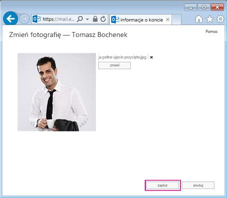 Zrzut ekranu przedstawiający okno dialogowe Zmień obraz z wyróżnionym przyciskiem Zapisz