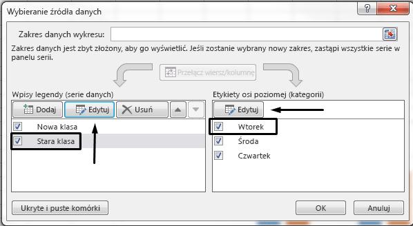 W oknie dialogowym Wybieranie źródła danych możesz edytować nazwę legendy.