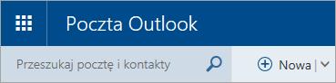 Zrzut ekranu przedstawiający lewy górny róg klasycznej skrzynki pocztowej w usłudze Outlook.com