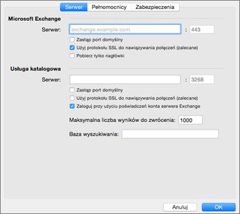 d2fcc4a291a86d Zaawansowane ustawienia konta programu Exchange dla programu Outlook dla  komputerów Mac