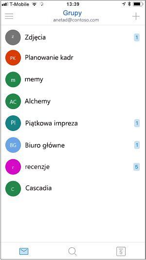 Ekran główny aplikacji dla urządzeń przenośnych grup