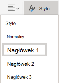 Opcje stylów nagłówków w aplikacji OneNote Online.