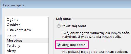 Zrzut ekranu przedstawiający część okna dialogowego opcji Mój obraz z zaznaczoną opcją Ukryj mój obraz