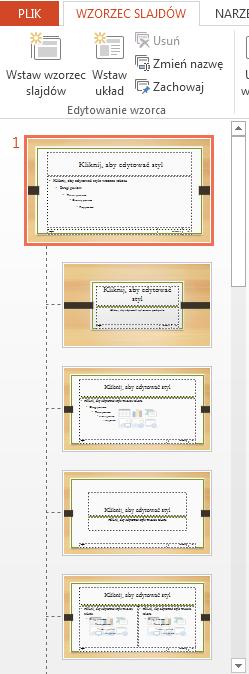 Miniatura u góry to wzorzec slajdów.