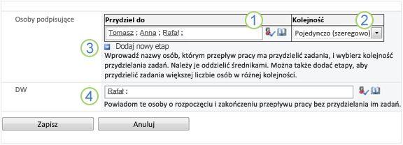 Druga strona formularza skojarzenia z wyświetlonymi opcjami