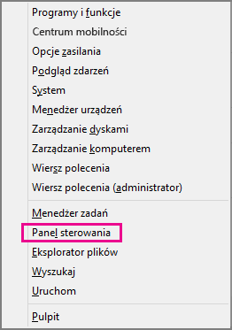Pakiet Office 2016: panel sterowania w systemie Windows 8