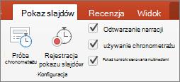 Zrzut ekranu przedstawia na karcie Pokaz slajdów przy użyciu opcji próba tempa i Rejestruj pokaz slajdów wraz z pola wyboru odtwarzanie narracji, Użyj chronometrażu i Pokaż kontrolki sterowania multimediami.