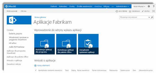 Zrzut ekranu: strona główna witryny wykazu aplikacji.
