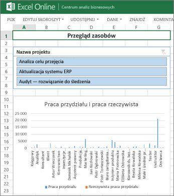 Skoroszyt Przegląd zasobów udostępnia informacje o zasobie w projektach