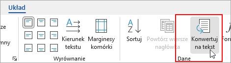 Wyróżniona opcja Konwertuj na tekst na karcie Układ w obszarze Narzędzia tabel