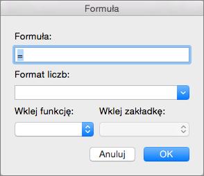 Dodawanie i modyfikowanie formuł w oknie dialogowym Formuła.