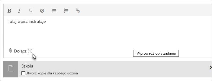 Kliknij pozycję Dołącz, aby dołączyć plik, link lub notes zajęć programu OneNote
