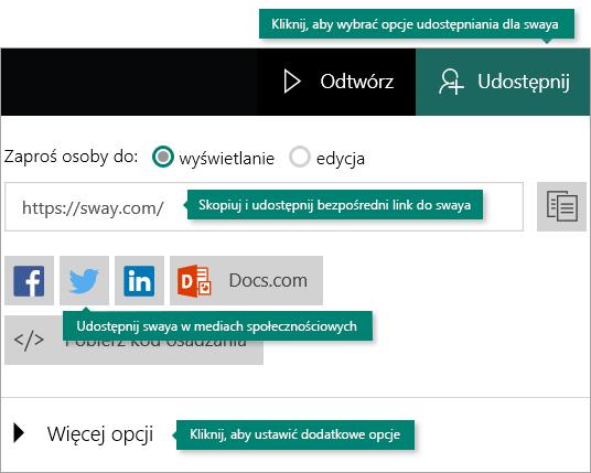 Opcje udostępniania w aplikacji Sway