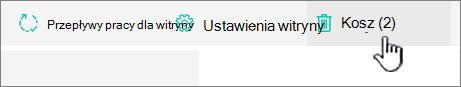 Przycisk Kosz strony Zawartość witryny usługi SharePoint Online