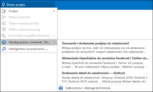 Wpisz, co chcesz zrobić, w polu Powiedz mi w programie Outlook, a funkcja Powiedz mi pomoże Ci w wykonaniu zadania