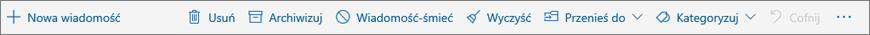 Zrzut ekranu przedstawiający pasek poleceń, który jest wyświetlany w okienku odczytu, z opcjami typowych akcji, takich jak usuwanie, archiwizowanie i przenoszenie w inne miejsce.
