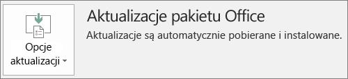 Zrzut ekranu przedstawiający aktualizacje pakietu Office na koncie aplikacji pakietu Office