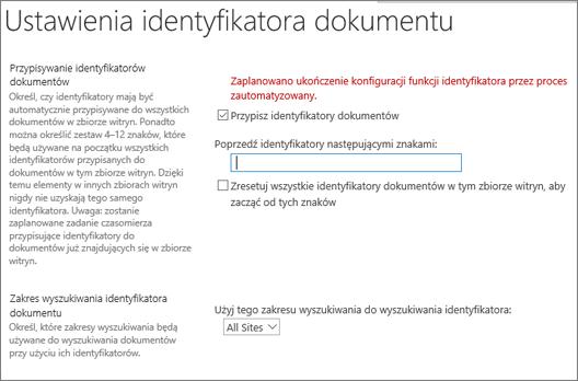 Przypisz identyfikatory dokumentów na stronie Ustawienia identyfikatora dokumentu