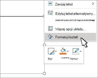 Formatowanie zaznaczonego elementu menu kształtu