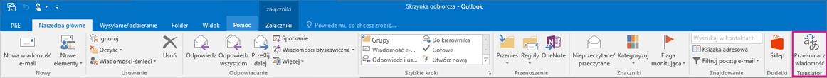 Wstążka Outlook 2016 z wyróżnionym przyciskiem tłumaczenia wiadomości