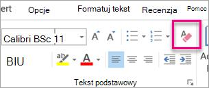 Wyczyść wszystkie formatowania ikona jest wyróżniona na karcie wiadomość