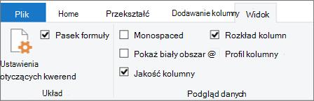 Opcje profilowania danych na karcie Widok na Wstążce edytora dodatku Power Query