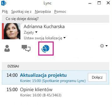 Widok Spotkania w oknie głównym programu Lync