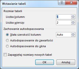 Okno dialogowe wstawiania tabeli zapewnia dodatkową kontrolę nad wyglądem tabeli.