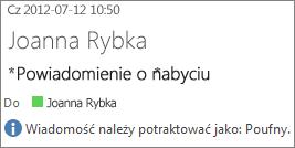 Wiadomość e-mail z oznaczeniem Poufny