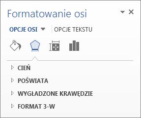 Lista opcji formatu osi jako przykład edytowania elementów wykresu