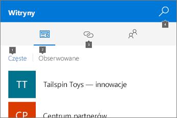 Zrzut ekranu przedstawiający kartę Witryny