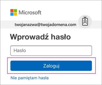 Wprowadzanie hasła w usłudze Outlook.com