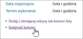 Kolejność kolumn typu zawartości listy