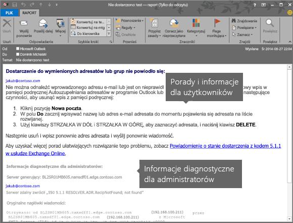 Raport o niedostarczeniu zawierający informacje dla użytkowników i informacje diagnostyczne dla administratorów