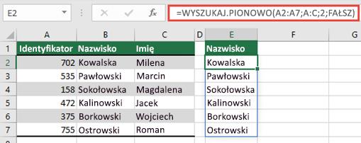 Use = Wyszukaj. pionowo (A2: A:C; 2; FAŁSZ), aby zwrócić tablicę dynamiczną, która nie spowoduje #SPILL! .