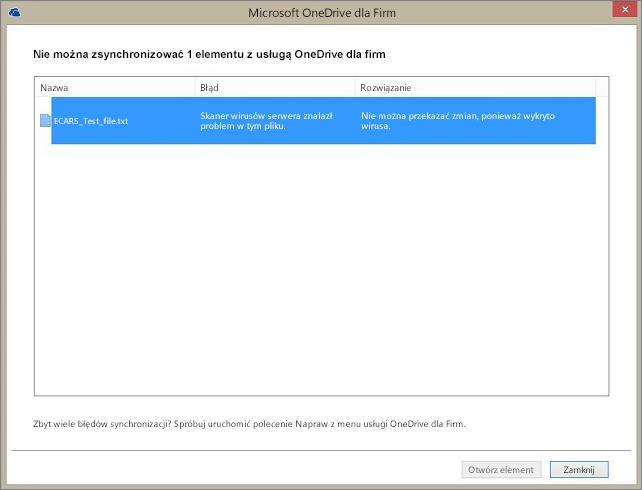 Zrzut ekranu przedstawiający okno dialogowe z 1 elementem, którego nie można zsynchronizować z usługą OneDrive dla Firm, ponieważ skaner antywirusowy na serwerze znalazł problem z plikiem.