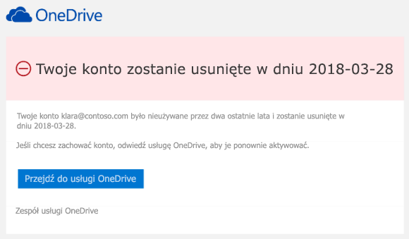 Zrzut ekranu przedstawiający wiadomość e-mail
