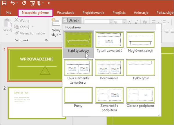 Układy slajdów w programie PowerPoint